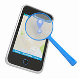 Smartphone with map and magnifying glass