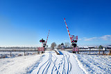 railway crossing in winter