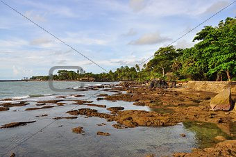 Beach with rocks at Anyer, Indonesia