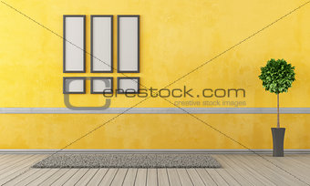 Empty yellow living room