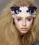 Lace. Closeup Portrait of Stylish Attractive Fashion Model with Modern Makeup
