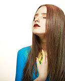 Imagination. Young Fashion Model with Bright Colorful Makeup. Glamor