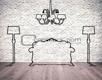 silhouettes of the furniture