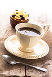coffee cup black dessert creamy sweet wooden board