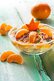 orange cream dessert fruit wooden board