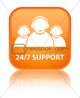 24/7 support (customer care team) glossy orange reflected square