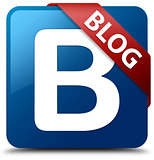 Blog (B letter icon) glassy red ribbon on glossy blue square but