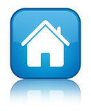 Home icon reflected on glossy blue square button