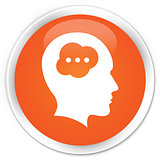 Idea head icon orange button