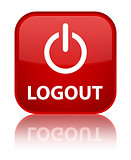 Logout (power off icon) glossy red reflected square button