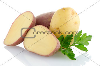 Red sliced potatoes