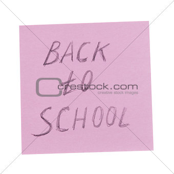back to school text on reminder paper