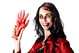 Bloody Zombie Woman with Severed Hand