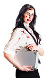 Isolated zombie businesswoman on white