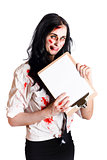 Zombie business woman with clip board