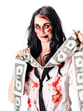 Zombie banker with forged american dollars