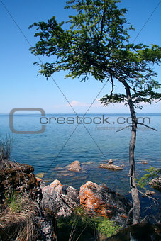 View to the Lake Baikal from the rocky shore