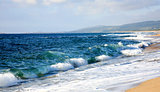 Beautiful beach with nice waves Sardinia Italy