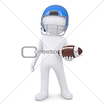 3d white man in helmet holding football ball
