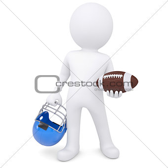 3d white man holding football ball and helmet