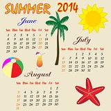 Summer calendar 2014