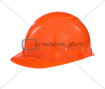Orange builder safety hard hat with clipping path included