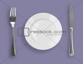 Knife, plate and fork on violet background