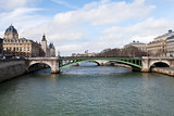 Seine river and Pont de Notre Dame in Paris