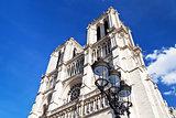 urban lantern and Cathedral Notre-Dame de Paris