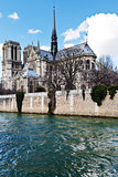 cathedral Notre Dame de Paris and Seine river