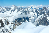 Mont Blanc mountain massif (view from Aiguille du Midi Mount,  F