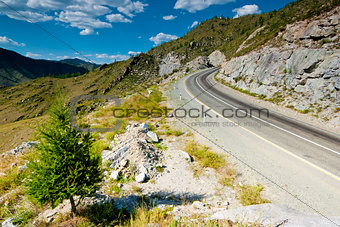 The road in the mountains. Altai Mountains. Russia.