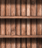 Wooden empty shelves background