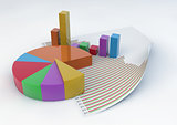 3d Pie Chart and Bars with a statistic document paper isolated o