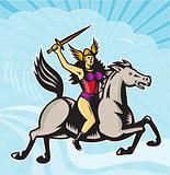 Valkyrie Amazon Warrior Riding Horse