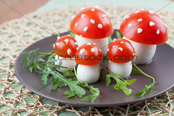 Tomato and egg fly agaric mushrooms