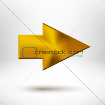 Right Arrow Sign with Gold Metal Texture
