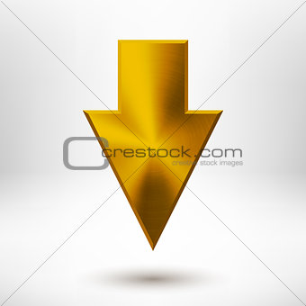 Down Arrow Sign with Gold Metal Texture