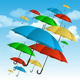 Сolorful umbrellas flying high.
