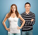 European Woman And Asian Man