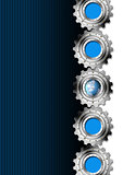 Blue and Metal Industrial Gears Background