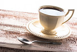 coffee cup black wooden board brown