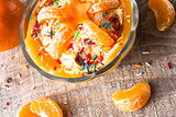 dessert cream orange fruit wooden board