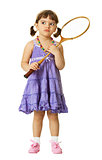 Little girl with a badminton racket