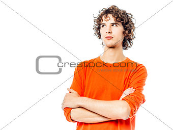 young man suspicious looking up portrait