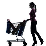 woman with full shopping cart silhouette