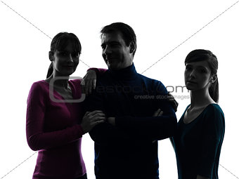 family father mother daughter happy portrait  silhouette
