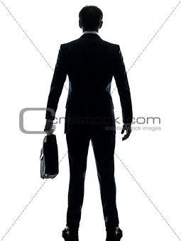 business man standing rear view silhouette