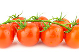 Bunch of Fresh Cocktail Tomatoes on White Background