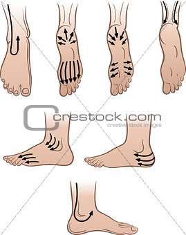 Closeup man feet with massaging lines